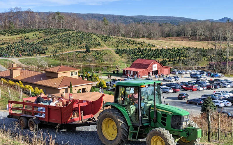 Linville Falls Winery Red Barn Christmas Tree Farm