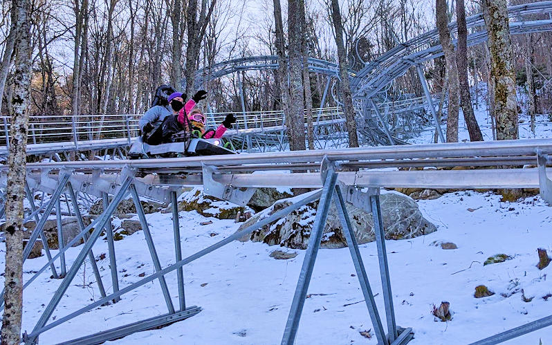 Alpine Coaster in Snow, Sugar Mountain