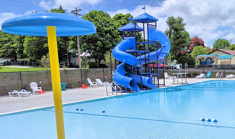 Dive-In Public Swimming Pool Slide