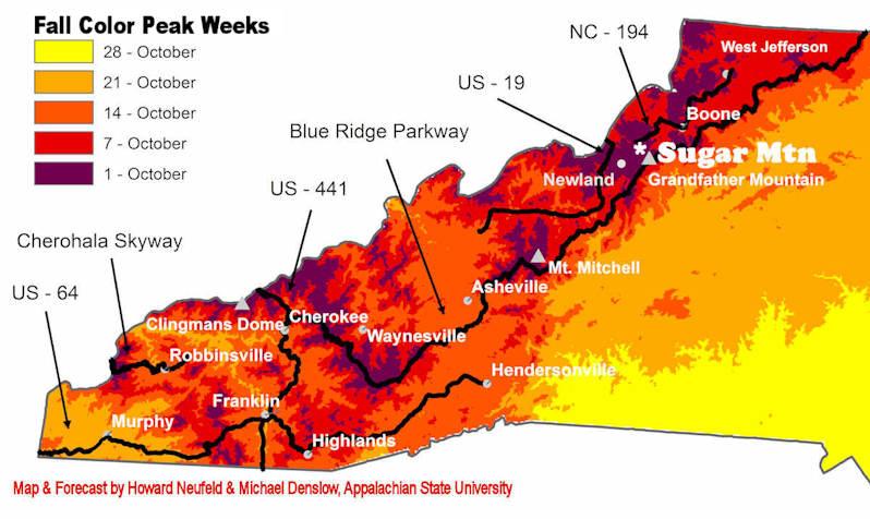 Fall Color Map NC Blue Ridge Mountains